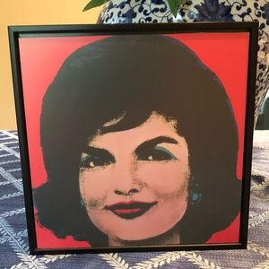 "Jackie O framed picture 8"" by 8"". Easy hanging."